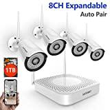 [2019 New] Wireless Security Camera System,SAFEVANT 1080P 8 Channel Video Security System(1TB Hard Drive),4pcs 960P(1.3 Megapixel) Indoor Outdoor Wireless IP Cameras,65ft Night Vision,P2P,Free APP