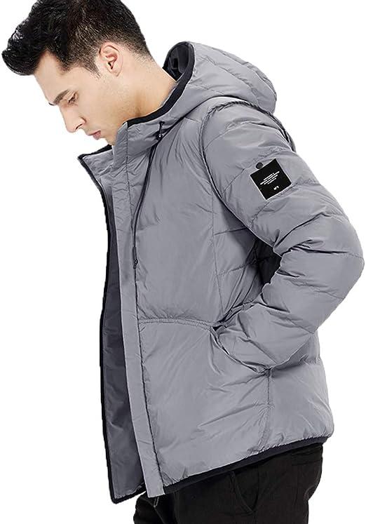 Chaqueta Corta para Hombre Personalidad de Invierno Marea de algodón para Hombre Chaqueta Corta para Hombre Chaqueta de Invierno Delgada para Hombre diseño con Capucha (Color : Gray, Size : L): Amazon.es: