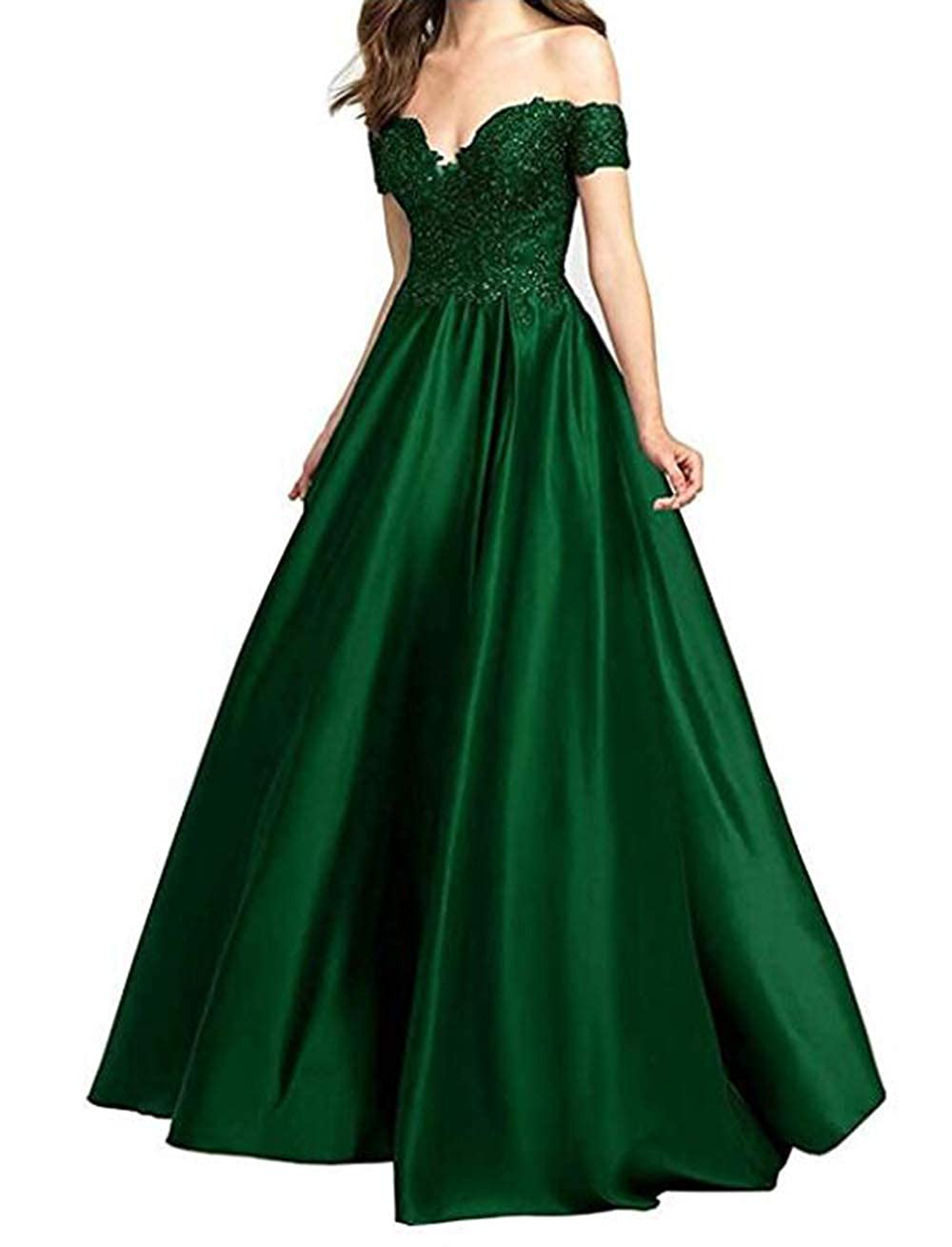 Emerald Green alilith.Z Sexy Off The Shoulder Prom Dresses Long Beaded Lace Satin Evening Dresses Party Gowns for Women 2019