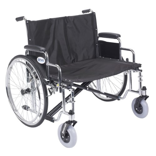 Drive Medical Sentra EC Heavy Duty Extra Wide Wheelchair with Various Arm Styles Arms, Black, 30