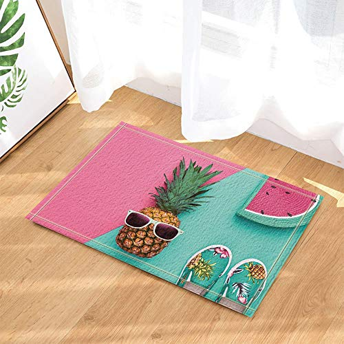 Fruit Art Decors Tropical Pineapple with Sunglasses and Watermelon Bath Rugs Non-Slip Doormat Floor Entryways Indoor Front Door Mat Kids Bathroom Accessories