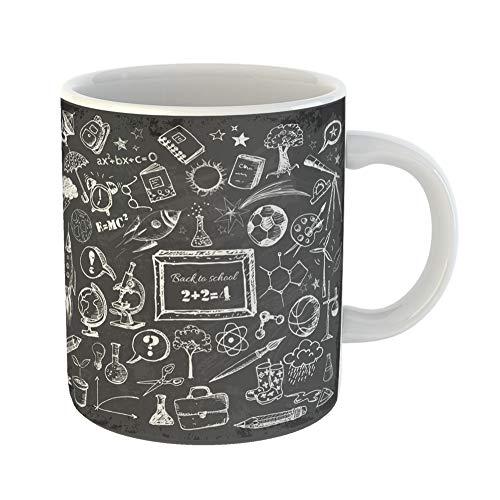 (Emvency Coffee Tea Mug Gift 11 Ounces Funny Ceramic Chalkboard Back to School Big Doodles on Blackboard Classroom Gifts For Family Friends Coworkers Boss Mug)