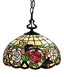 "Tiffany Style Hanging Pendant Lamp 16"" Wide Stained Glass White Humminbird Antique Vintage 2 Light Decor Bedside Restaurant Living Dining Room Kitchen Bedroom Gift AM019HL16B Amora Lighting"
