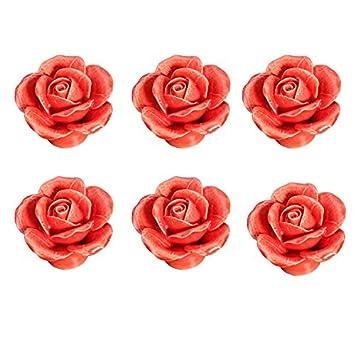 Idealdecor Pink 6PCS 40mm Lovely Rose Flower Ceramic Door Knob Handle Pull Knobs for Children's Kid's room Drawer,Cabinet,Chest, Bin, Dresser, Cupboard, Etc with Screws