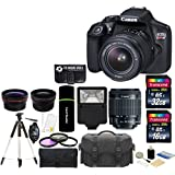 Canon EOS Rebel T6 18MP Wi-Fi DSLR Camera with 18-55mm IS II Lens + 32GB & 16GB Card + Wide Angle Lens + Telephoto Lens + Flash + Grip + Tripod - 48GB Deluxe Accessories Bundle