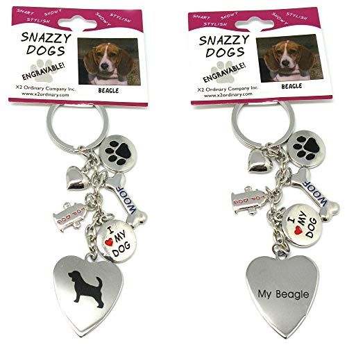 (Beagle Keychain for Women, Girls, Boys, Men - Engraved Stainless Steel Dog Key Ring with Charms - Cute I Love My Dog Key Fob Gift - Cute Pet Accessories by)