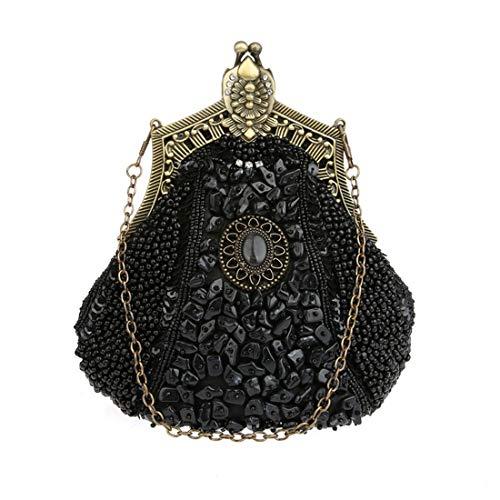 Design Perles de de enveloppe Noir clutch à élégant pour mode Sac Sequin Pochette Luckywe main Femme 7xqvHH
