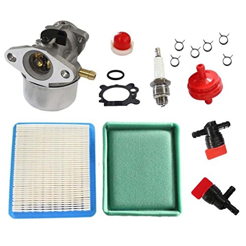 HURI Carburetor with Air Filter Fuel Filter Cut Off Shut Off Valve for Briggs & Stratton 799868 498170 497586 498254 497347 497314 799872 790821 498255 498966 497410 4 5 6 7 Hp