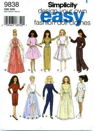- Simplicity 9838 Sewing Pattern Fashion Doll Clothes