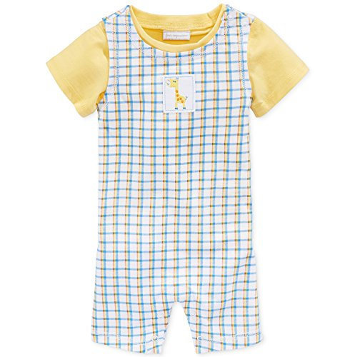 Baby Boy's 2-piece Yellow Short Sleeve Tee and Plaid Romper Set (3-6 Months)