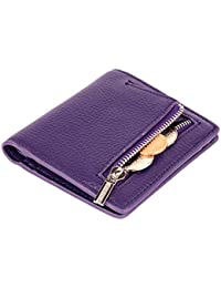 Women's Leather Small Compact Bifold Pocket Wallet Ladies Mini Purse with id Window