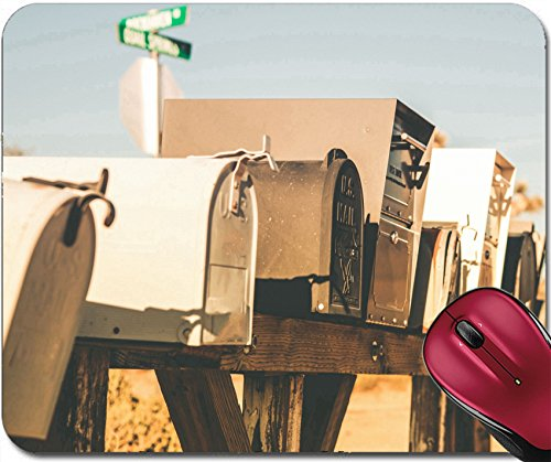 Liili Mousepad IMAGE ID 32170132 Mailboxes on the American Desert Road Closeup Photo California USA Vintage Desert Color - Mail Tracking American