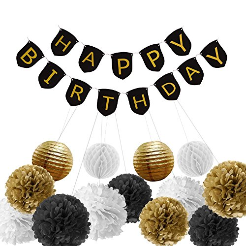 Paxcoo Black and Gold Birthday Party Decorations with Birthday Banner for 30th, 40th, 50th, 60th, 70th, 80th (70th Decorations)