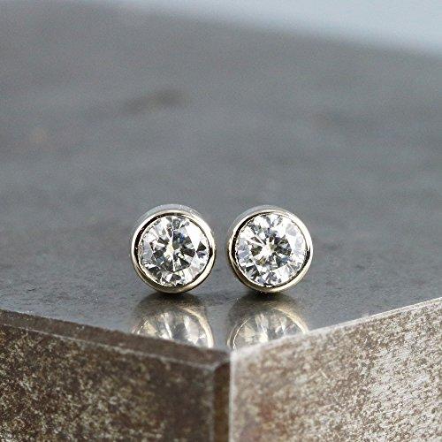 Moissanite Solid Earrings (Tiny 14k White Gold Stud Earrings with Moissanite - 3mm Diamond Alternative Stone)