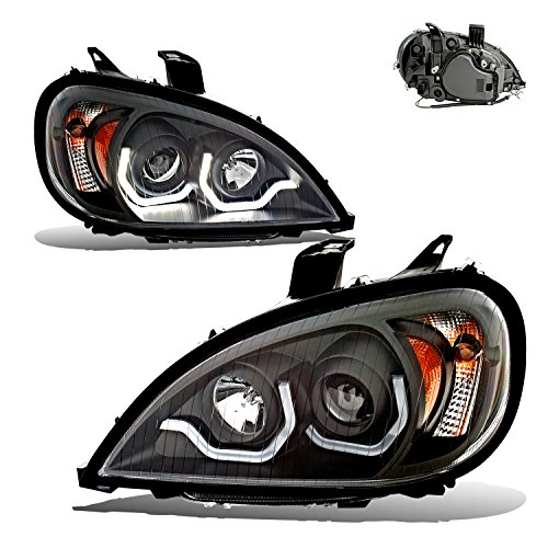 SPPC Black Projector Headlights Assembly Set For Freightliner Columbia (Pair) High/Low Beam Bulb Included Driver Left and Passenger Right Side Replacement Headlamp