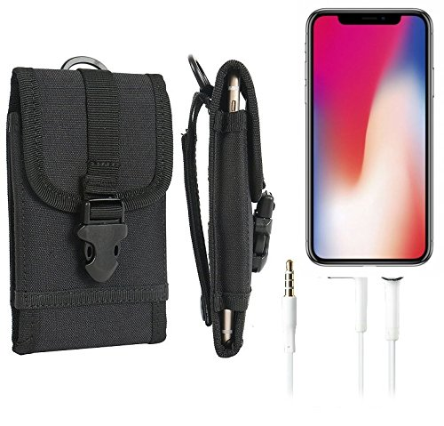 Gürteltasche / Holster für Apple iPhone X, schwarz + Kopfhörer  extrem robuste Handyhülle Smarpthone Schutz Tasche Hülle outdoor / camping case - K-S-Trade(TM) (Wir zahlen Steuern in Deutschland!)