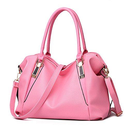 Hynbase Women's New Casual Waterproof PU Leather Handbag Purse Shoulder Bag Pink