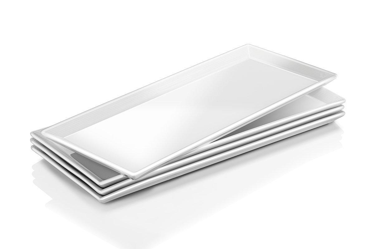 Dowan Porzellan Servierplatten/eckig Teller–4Packungen, natürliches Weiß natürliches Weiß Sihai