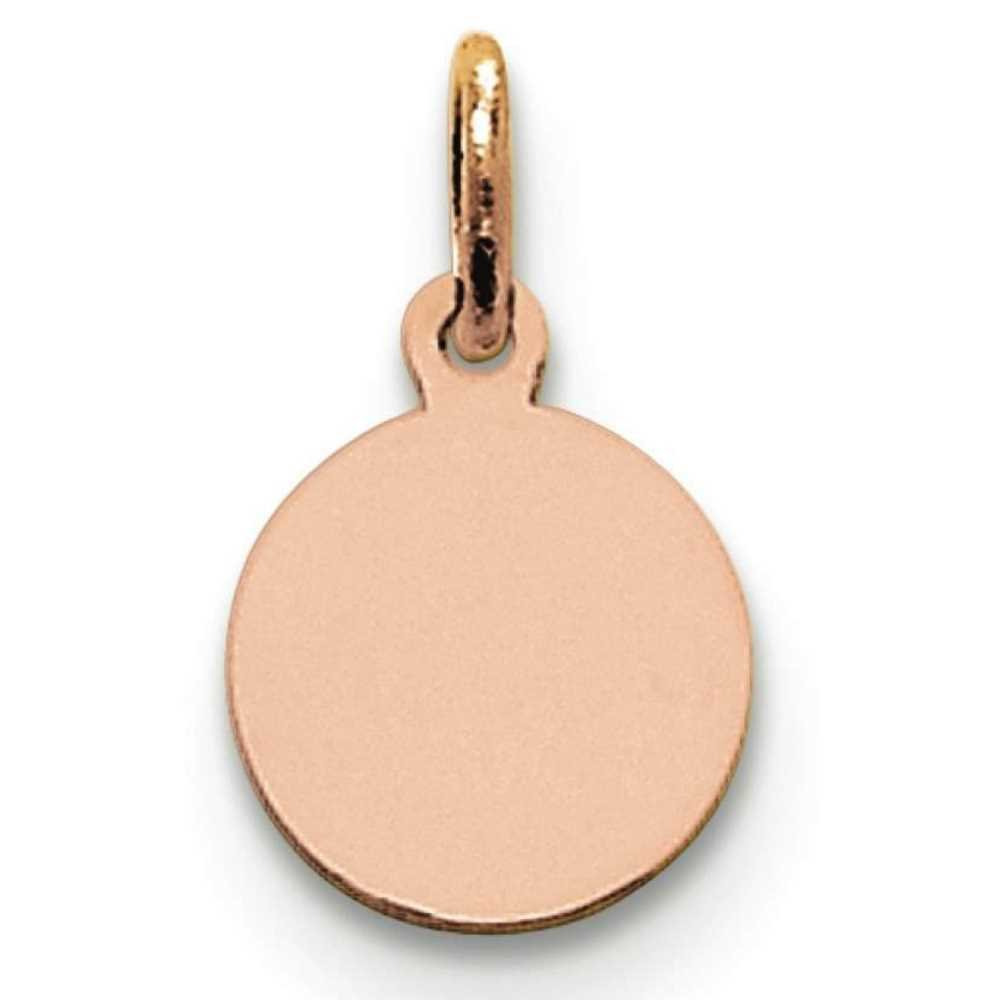 14k Rose Gold Plain .013 Gauge Engravable Circular Disc Charm Pendant