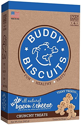 Cloud Star Buddy Biscuits Crunchy Itty Bitty Oven Biscuits Dog Treats with Natural Bacon Cheese & Apples 8 oz (Natural Rawhide Bacon)
