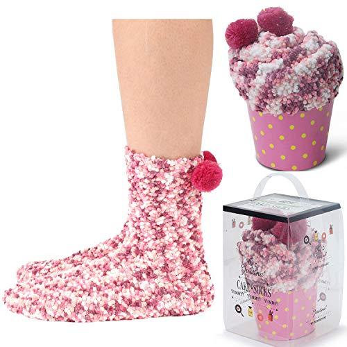 - Women's Cozy Super Soft Warm Fuzzy Plush Crew Socks with Gift Box(2 Pairs) (2Pink)