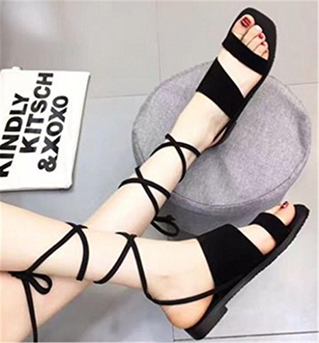 Up Womens Tie Leisure Shoes Rome Ankle Lace MNII Block Straps Ladies summer Open Party Size Heels Black High Fashion Fashion FAwfq
