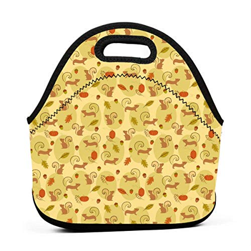 Neoprene Portable Lunch Bag Carry Case Tote with Zipper Box Cooler Container Bags Picnic Outdoor Travel Fashionable Handbag Pouch for Women Men Kids Girls Cute Squirrels Pine Nut Pumpkin]()