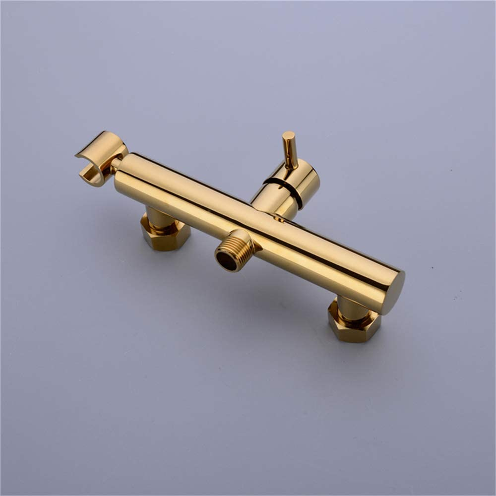 HNBMC Solid Brass Toilet Handheld Bidet Spray Shower Sprayer Set with Hot and Cold Mixer Valve Gold