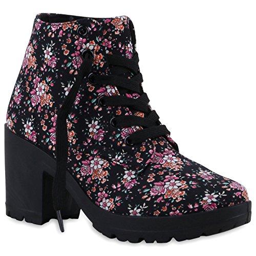 Stiefelparadies Damen Schnürstiefeletten Stoffschuhe Profilsohle Blumen Ankle Boots Stiefeletten Flandell Schwarz Blumen