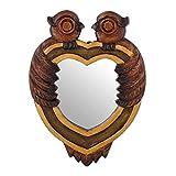 NOVICA Animal Themed Wood Wall Mounted Mirror, Brown, 'Owl Heart Secrets'