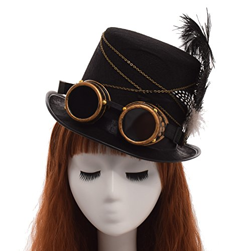 GRACEART Women's Gothic Steampunk Top Hat with Goggles