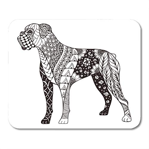 Boxers Indian (Emvency Mouse Pads Book Boxer Dog Zentangle Freehand Pencil Pattern Zen Ornate Lace Mandala Adult Mouse pad 9.5