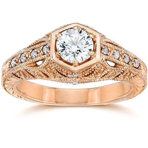 Emery .70Ct Vintage Diamond Antique Engagement 14K Rose Gold - Size 7.5 ()