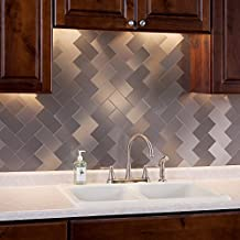 Aspect Peel and Stick Backsplash 3in x 6in Brushed Stainless Long Grain Metal Tile 15 Sq Ft Kit for Kitchen and Bathrooms