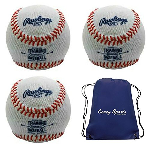 Indoor Soft Core Fabric-Covered Training Baseballs from Rawlings (3-Pack) by Rawlings and Covey Sports