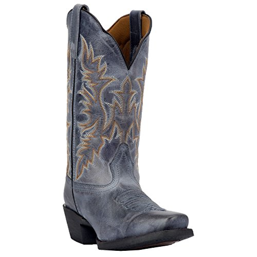 Leather Boots Western Shoe (Laredo Women's Navy Malinda Cowgirl Boot Square Toe Navy 10 M)