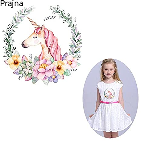TOTAL HOME Prajna Kids Flower Unicorn Patches Iron Transfers For