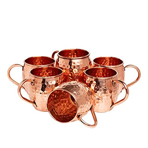 Kitchen Science Moscow Mule Copper Mugs, 16 Ounce, Set of 4