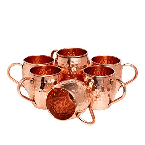 Kitchen Science Moscow Mule Hammered Copper 16 Ounce Drinking Mug, Set of 6 (6) by Kitchen Science (Image #1)