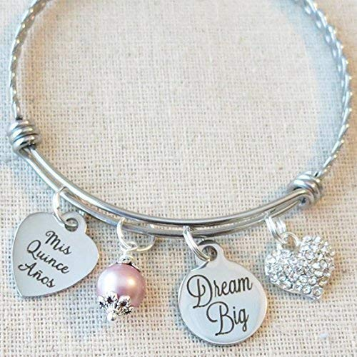 Quinceañera Bangle, 15th Birthday Gift for Teenager, Dream Big Bracelet, Mis Quince Años Bangle, Mis Quince Gift, Sweet 15 Birthday