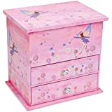 JewelKeeper Wooden Music Box with 2 Pullout Drawers, Fairy and Flower Design, Dance of the Sugar Plum Fairy Tune
