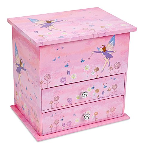 JewelKeeper Music Box with 2 Pullout Drawers, Fairy and Flower Design, Dance of the Sugar Plum Fairy - Box Jewelry Treasure Musical Fairy