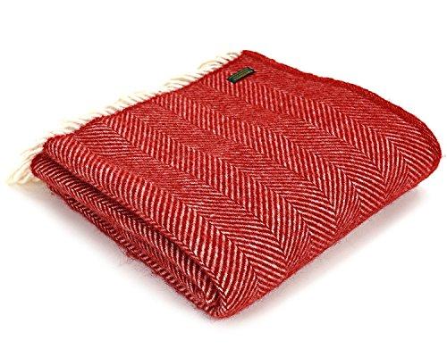 (Tweedmill Wool Throw Blanket by Pure New Wool - Lifestyle Fishbone (Red))