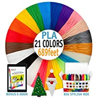 3D Pen Filament Refills - Premium Set of 21 Colors Bonus 300 Stencils EBook Including 6 Glow in The Dark