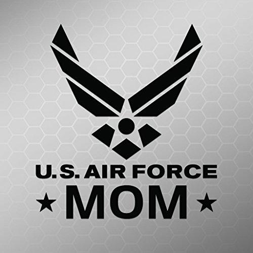 Air Force Mom Emblem Vinyl Decal Sticker   Cars Trucks Vans Walls Laptops Cups   Black   5.5 X 5 Inch   KCD1723B ()