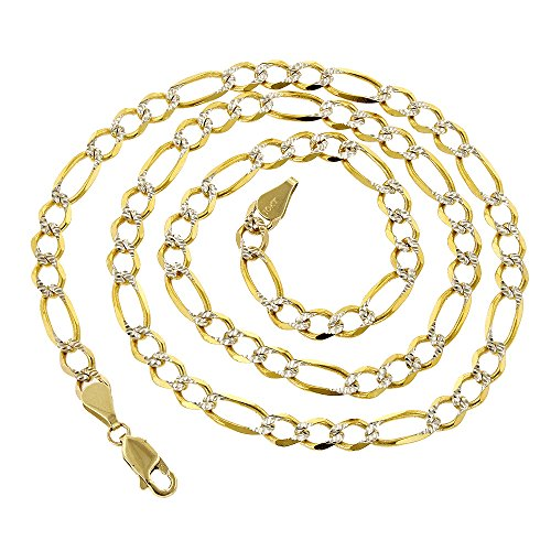 Luxurman 10k Yellow Solid Gold 6mm Wide Figaro White Diamond Cut Chain 18'' long Necklace Lobster Clasp by Luxurman