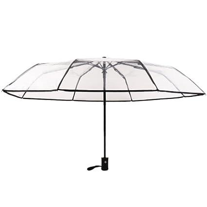 Kentop Paraguas Transparente Plegable automático Paraguas automático con botón, Negro, 23 * 5cm