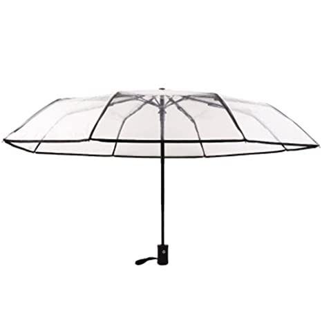 Xuxuou Paraguas Plegable Transparente Automático con Botón Automático Elegant Paraguas para Mujer