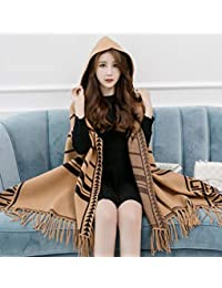 nwn Scarf Female Winter Korean Version of The Wild Plaid Trend Cashmere Thick Warm Shawl (Color : D)