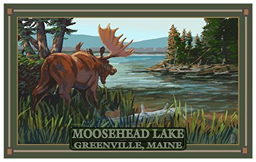 Moosehead Lake Greenville Maine Moose Travel Art Print Poster by Mike Rangner (12